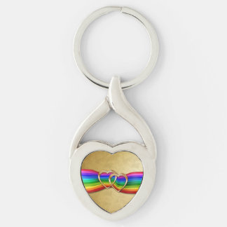 Entwind Gold Hearts on Rainbow Ribbon - Key Chain