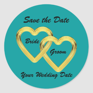 Entwined Gold Hearts Bride and Groom Classic Round Sticker
