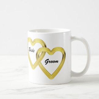 Entwined Gold Hearts Bride and Groom Coffee Mug