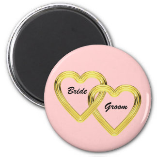 Entwined Gold Hearts Bride and Groom 2 Inch Round Magnet