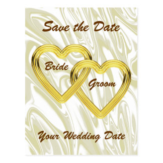 Entwined Gold Hearts Bride and Groom Postcard