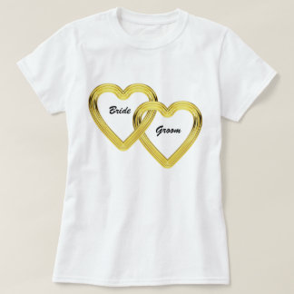 Entwined Gold Hearts Bride and Groom T-shirt