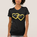Entwined Gold Hearts Bride and Groom Tee Shirts