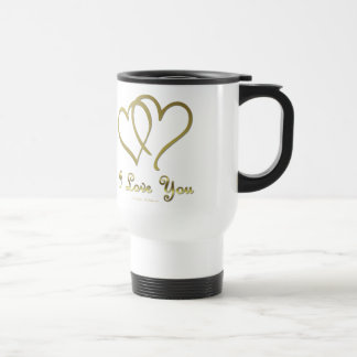 Entwined Gold Hearts i Love You 15 Oz Stainless Steel Travel Mug