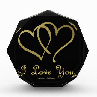 Entwined Gold Hearts i Love You Acrylic Award