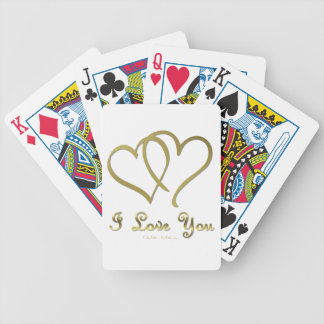Entwined Gold Hearts i Love You Bicycle Playing Cards