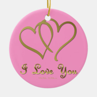Entwined Gold Hearts i Love You Ceramic Ornament