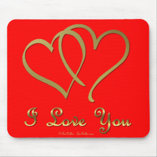 Entwined Gold Hearts i Love You Mouse Pad