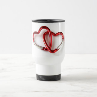 Entwined heart carabiners 15 oz stainless steel travel mug