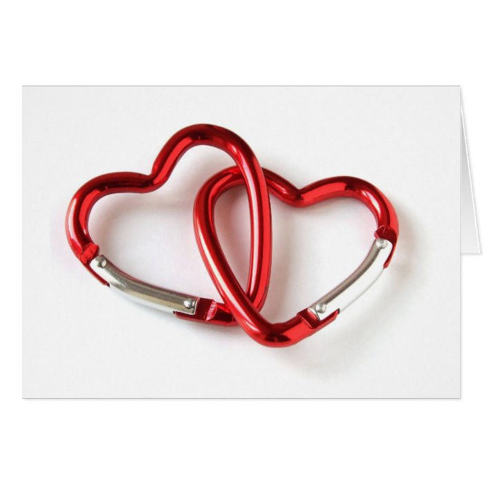 Entwined heart carabiners card
