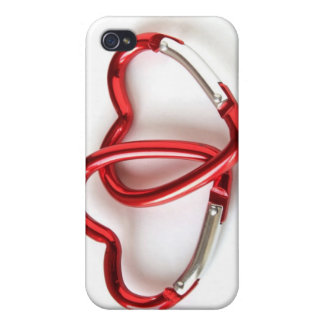 Entwined heart carabiners cover for iPhone 4