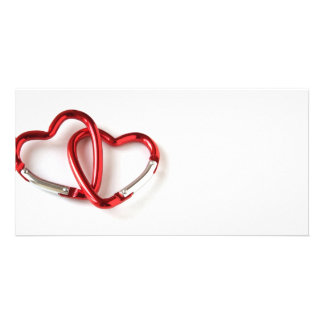 Entwined heart carabiners photo cards
