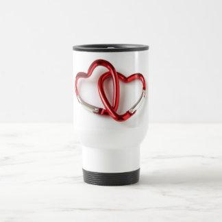 Entwined heart carabiners travel mug