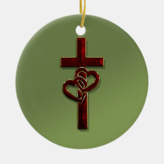 Entwined Hearts Cross Ceramic Ornament