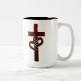 Entwined Hearts Cross Two-Tone Coffee Mug