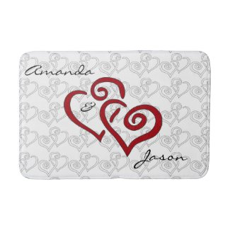 Entwined Hearts Design Bath Mat