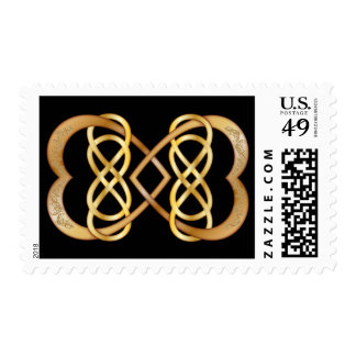 Entwined Hearts Double Infinity - Gold on Black Postage Stamps