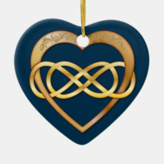 Entwined Hearts Double Infinity - Gold on Blue Ceramic Ornament