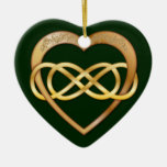 Entwined Hearts Double Infinity - Gold on Green Christmas Tree Ornaments
