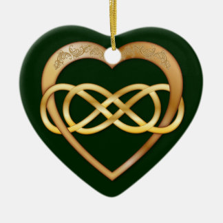 Entwined Hearts Double Infinity - Gold on Green Double-Sided Heart Ceramic Christmas Ornament