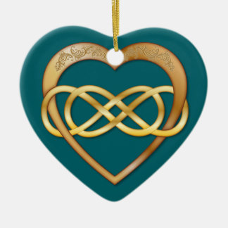 Entwined Hearts Double Infinity - Gold on Teal Ceramic Ornament