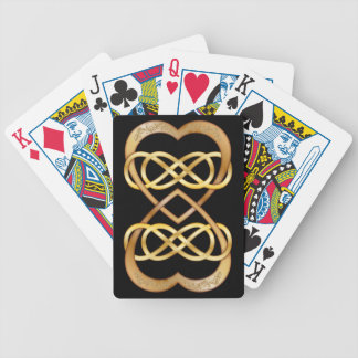 Entwined Hearts Double Infinity in Gold on Black Bicycle Playing Cards