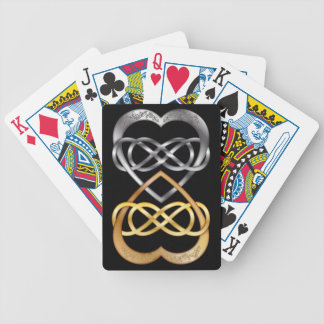 Entwined Hearts Double Infinity in Silver/Gold 2 Bicycle Playing Cards