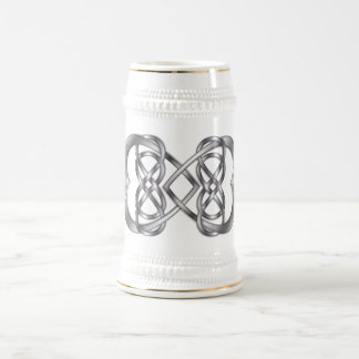 Entwined Hearts Double Infinity in Silver - Stein1 18 Oz Beer Stein