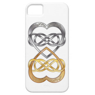 Entwined Hearts Double Infinity Silver/Gold iPhone 5 Cases