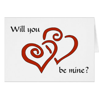 Entwined Hearts Will You Be Mine? Valentine's Card Greeting Card
