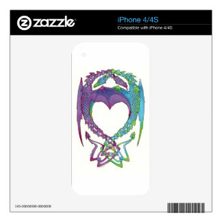 Entwined in love Celtic knot dragon iPhone skin Decals For The iPhone 4