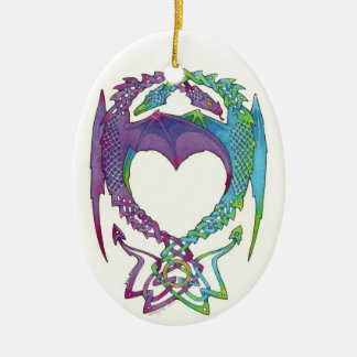 Entwined in love dragons oval ceramic ornament