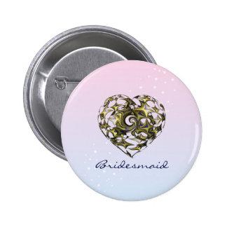 Entwined Love Heart Wedding 2 Inch Round Button