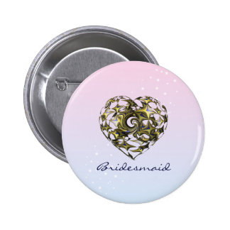 Entwined Love Heart Wedding Button