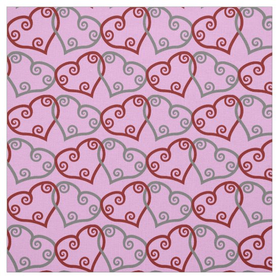 Entwined Maori Valentine Hearts on Pink Fabric