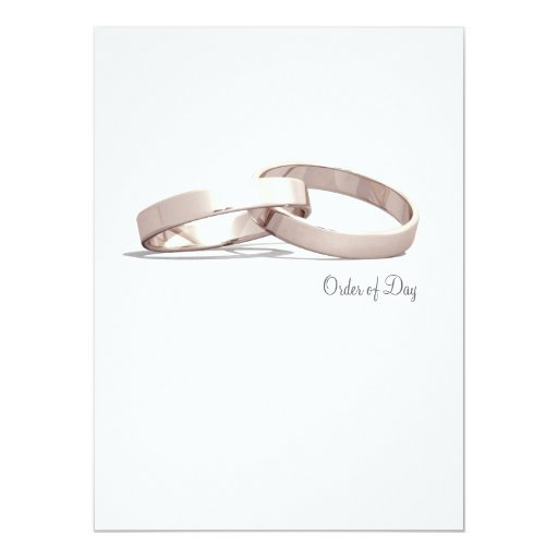 Entwined Rings Gold  BLK - Order of Day/Ceremony Card