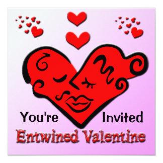 """Entwined Valentine Invitation 5.25"""" Square Invitation Card"""