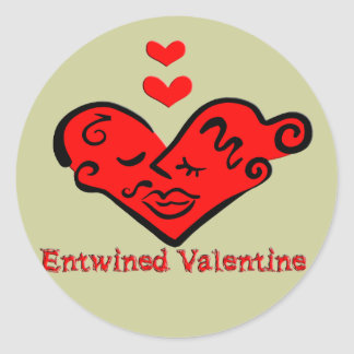 Entwined Valentine Classic Round Sticker
