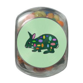Envase de la haba de jalea del conejito de pascua jarras de cristal