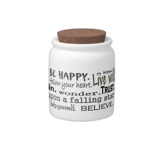 envase inspirador de los dulces de las palabras jarras para caramelos