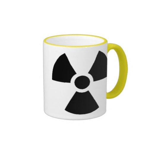 Envase oficial de los desechos radioactivos taza a dos colores