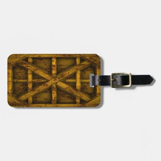 Envase oxidado - amarillo - etiquetas maleta