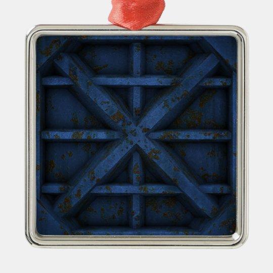 Envase oxidado - azul - adorno navideño cuadrado de metal