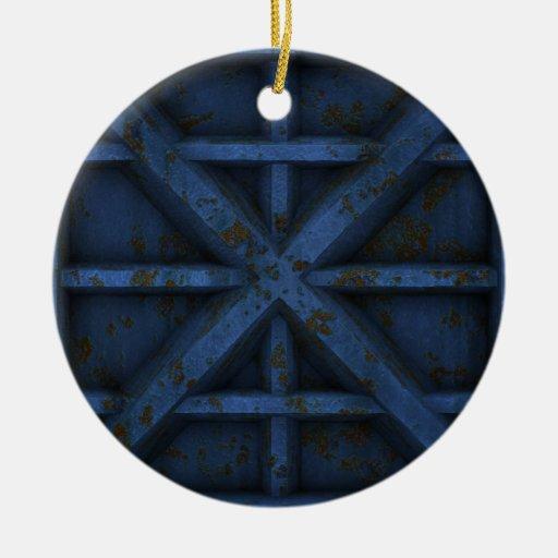 Envase oxidado - azul - adorno navideño redondo de cerámica