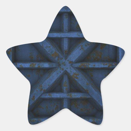 Envase oxidado - azul - calcomanías forma de estrellaes personalizadas