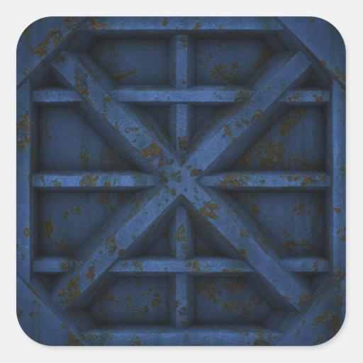 Envase oxidado - azul - pegatina cuadradas personalizada