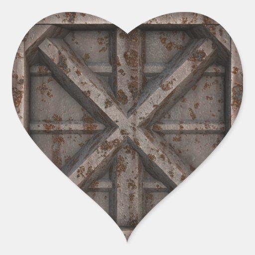 Envase oxidado - beige - pegatina en forma de corazón