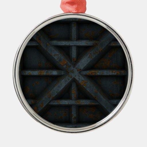 Envase oxidado - negro - adorno navideño redondo de metal