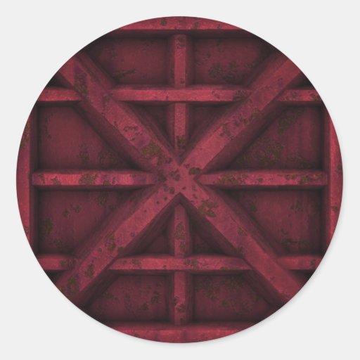 Envase oxidado - rojo - pegatina redonda
