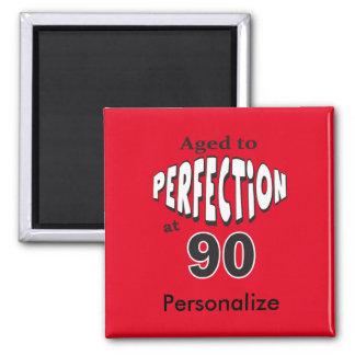 Envejecido a la perfección en el 90.o cumpleaños imán cuadrado